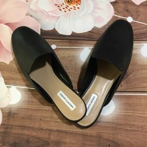 NWT Saks Fifth Avenue black leather mules